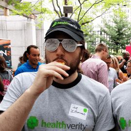 HealthVerity employee dressed in HealthVerity swag