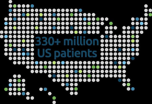 Map Graphic: 330 plus million US patients